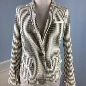 Banana Republic Black White Stripe Knit Blazer S P